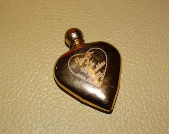 Vintage Perfume Bottle, Evyan White Shoulders, Most Precious, Gold Heart Perfume Bottle 1950s  Valentines Perfume Bottle,Heart Shaped.