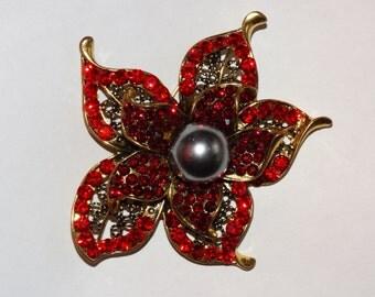 Red Rhinestone Flower Jewelry Pin Retro, White Soft Pink, Poesy, Flower Power  Hippie Girl Love Peace, Brooch Flower Wedding Bouquet Supply
