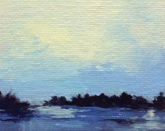 "GENTLE EVE, oil painting, landscape original oil, 100% charity donation, original painting  4""x4"" canvas panel, sky, clouds"