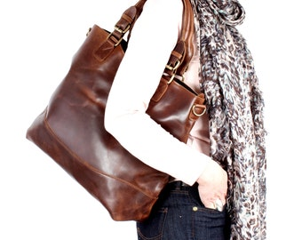 Leather Purse, Brown Distressed Leather Tote