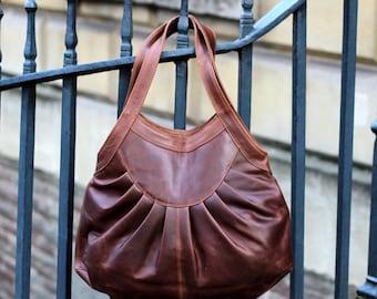 Leather Tote Purse Handbag, vintage brown