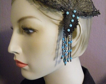 Antique 1920's Metallic Beaded Headpiece Bronze Netting with Glass Beads Flapper Era