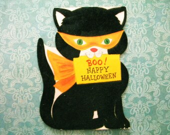 Vintage Halloween Flocked Greeting Card Hallmark Masked Black Kitty Cat