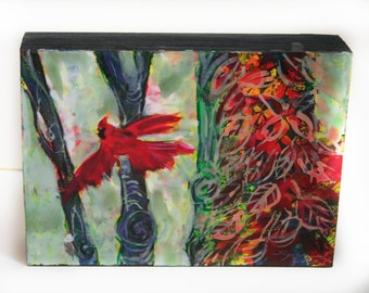 Autumn flight, 5x7 inches and 1.50 inches deep, Art #Gina Signore #Bird art #Red birds #Fall decor #Home decor #Autumn art