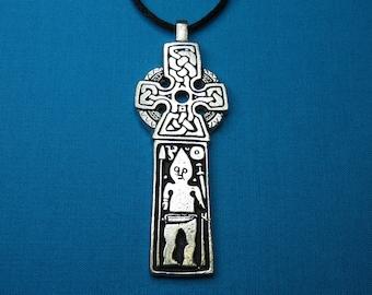 Large Viking Prayer Stone Cross / Norse Man Cross handmade in Silver Pewter STK052