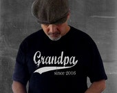 Grandpa since, custom mens t shirt, gift ideas for men, christmas gift, personalized t shirt, pregnancy announcement, grandfather gift