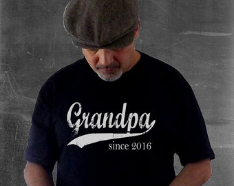 Grandpa since, custom mens t shirt, gift ideas for men, father's day gift, personalized t shirt, pregnancy reveal