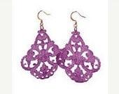 Plum Filigree Chandelier Earrings, arge earrings, chandelier earrings, lucite earrings, vintage, gift for her
