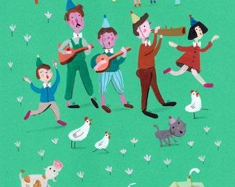 musicians in the village   Original collage