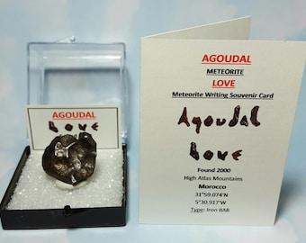 23 Gram AGOUDAL Meteorite LOVE Natural Heart Shape Meteorite In Medium Large Display Box With Meteorite Writing Card Found 2000 Morocco