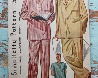 1940s men's pajamas sewing pattern / Simplicity 1202 1944 / wartime sewing pattern / size med chest 38-40""