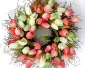 Small Tulip Spring Wreath for front door, Spring Decoration, Spring Wreath, Wedding Wreath, wreathe, Mother's Day gift, tulip wreath