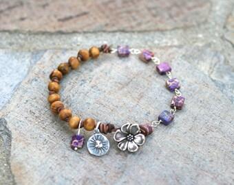 Purple Jasper Gemstone and Olive Wood Beaded Handmade Bracelet, Purple and Tan Jewelry, Sun and Flower Charm Bracelet