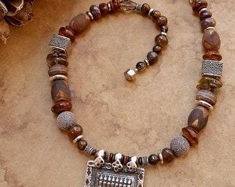 SALE! + Sapta Matrikas Antique Silver Amulet Necklace + India Goddess + Brown Gemstone Beads + Bali Silver Beads