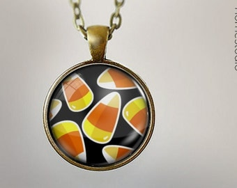 Candy Corn : Glass Dome Necklace, Pendant or Keychain Key Ring. Gift Present metal round art photo jewelry HomeStudio. Silver Copper Bronze