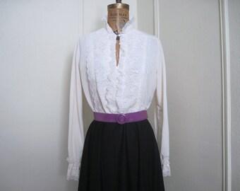 edwardian revival, 1980s lace + ruffle dress - secretary, black + cream, librarian chic, high neckline - vintage Jane Baar - sz large