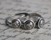 skull ring - a seriously small skull wax seal ring - sterling silver stacking ring - memento mori wax seal jewelry