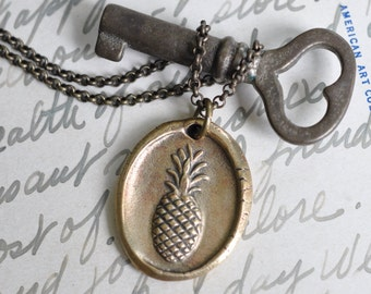 bronze pineapple wax seal necklace … symbol of hospitality - pineapple pendant - bronze wax seal jewelry