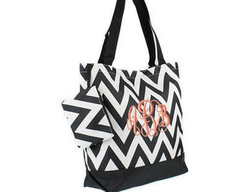 Personalized Tote Bag Black Chevron Monogrammed Dance Cheer