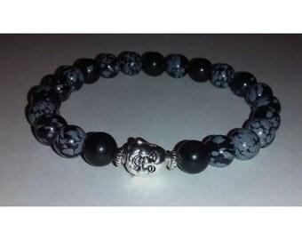 Buddha Black Obsidian Snowflake Unisex Bracelet