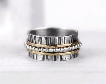 Silver Spinner Ring with Hammered Gold and Silver Beaded Bands, Mixed Metal Meditation Ring, Fidget Ring
