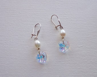 Pearl Earrings Swarovski clear crystal hearts and white rice freshwater pearl earrings on sterling silver, Christmas, wedding pearls