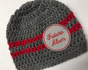 Baby // Crochet Hat // Ohio College // Team Color // Scarlet, Grey // Handmade // Future Alum