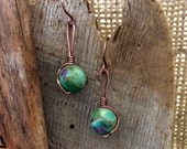Genuine Zoisite Ruby Dangle Earrings Antique Copper Wire Hammered Earwires 1.99 Shipping USA