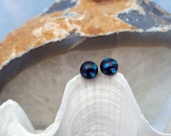 Blue Polka Dot on Black Dichroic Glass Post Earrings