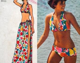 Vintage Bikini and Wrap Skirt Pattern Simplicity 5644 Bust 34 36 Halter Top Bikini