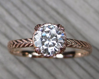 Moissanite Feather Engagement Ring: White, Yellow, or Rose Gold; Carved Setting; 1ct Forever One ™