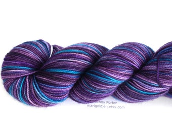 Blueberry Buckle--hand dyed sock yarn, 2ply merino and nylon, (400yds/100gm)