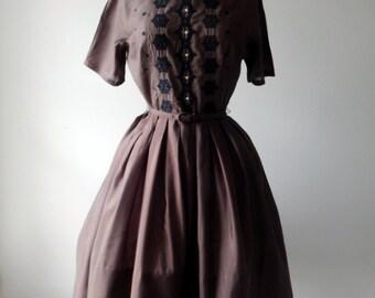 Chocolate Decadence dress   vintage 1950s dress • vintage 50s dress
