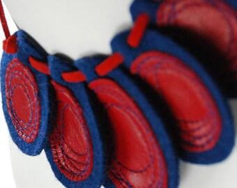 Nuimasu Recycled Felt & Leather Necklace