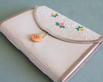 Tea Time Vintage Linen Softcover Embroidered Journal 07 by PrairiePeasant
