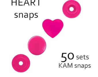50 sets Hot Pink B47 Glossy Heart KAM snaps. T5 plastic snaps buttons. KAM snap set. KAM snap fasteners. diaper snaps. bib snaps #700156