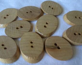 Set of 10 VINTAGE Sliced Natural Wood Sew Thru BUTTONS