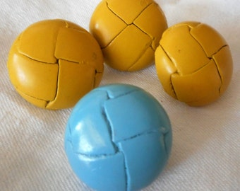 Set of VINTAGE Dyed Yellow & Blue Leather Metal Shank BUTTONS