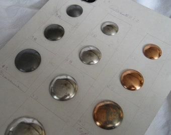 Lot Sets of VINTAGE Gold & Silver Metal Waterbury Salesman Sample Card BUTTONS