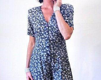Sara Beth's Garden, 80s Romper S M, 1980s Floral Romper, Boho Blue Rayon Playsuit, Hippie Revival Shorts Romper, Grunge Romper