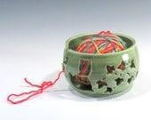 Yarn Bowl - Green Yarn Bowl with Cat and Ivy - Knitting Bowl - Yarn Holder - Bowl for Holding Yarn - Handmade Pottery