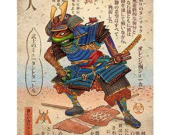 Samurai Turtle- Michelango 11 x 14 print