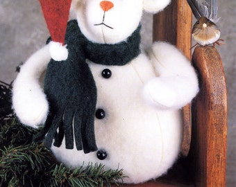 """Indygo Junction Designs IJ315 Simon The Snow Bear 9"""" Toy Stuffed Animal Decoration Uncut Vintage Sewing Craft Pattern 1993"""