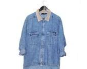 90s grunge long DENIM jacket early 1990s MOSSIMO stone wash jean jacket corduroy collar denim coat
