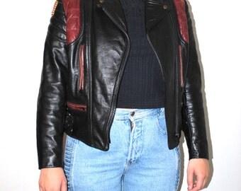 80s leather motorcycle jacket 1980s vintage two tone leather Honda moto jacket small