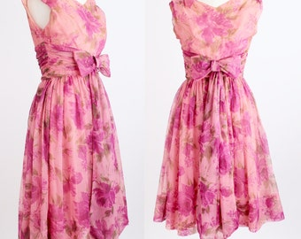 Vintage 1950s Fit and Flare Dress | Ruched Waist Garden Dress | Nylon Chiffon Floral Print Dress | XXS
