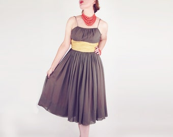 50s Olive Green Chiffon Party Dress with Brown Lace Cover S M
