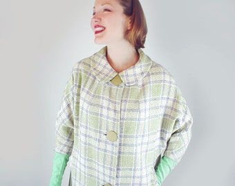 50s Cream, Lavender and Green Plaid Wool Coat with Batwing Sleeves M