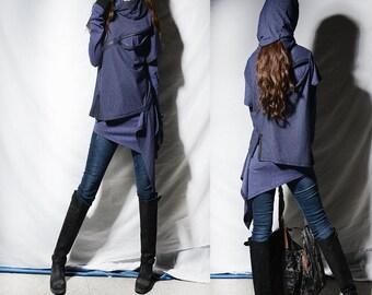 Ninja layered cotton hoodie / cowl neck sweatershirt + boho cotton tunic / thumb hole tunic dress (Y31188t)