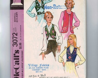 1970s Vintage Sewing Pattern McCalls 3072 Misses Peasant Hippie Embroidered Vests and Belt Size 8 10 Small Bust 31 1/2 - 32 1/2 1971 UNCUT